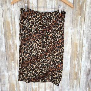 Betsey Johnson leopard print silk pencil skirt